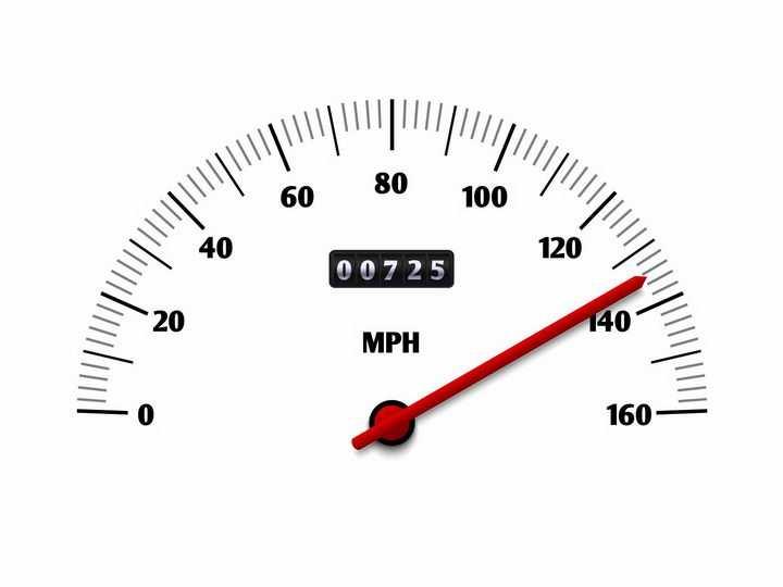 黑色刻度的汽车仪表盘速度表红色指针png图片免抠矢量素材