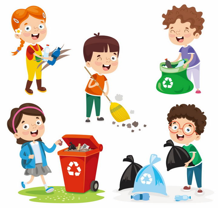 卡通男孩女孩打扫卫生和垃圾分类手抄报png图片免抠eps矢量素材 生活素材-第1张