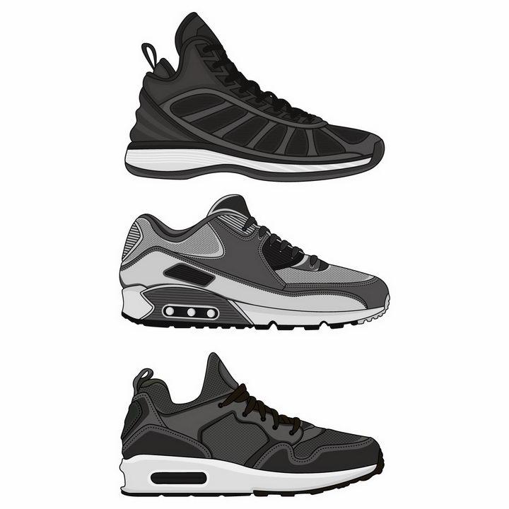 3款深灰色的运动鞋跑步鞋男鞋png图片免抠eps矢量素材 生活素材-第1张