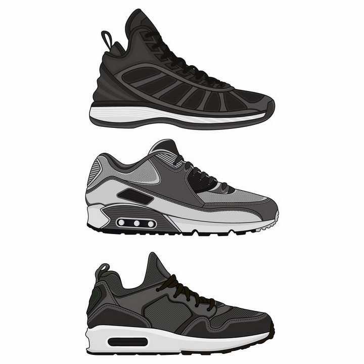 3款深灰色的运动鞋跑步鞋男鞋png图片免抠eps矢量素材