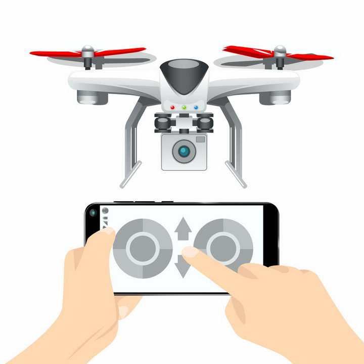 用手机遥控的带摄像头的四轴飞行器无人机航拍小飞机png图片免抠矢量素材