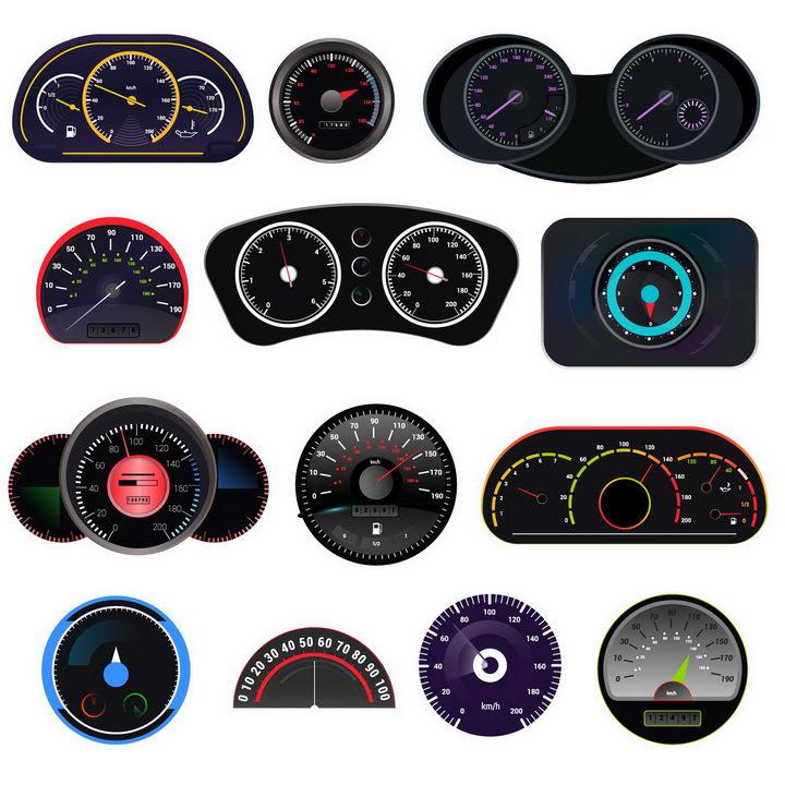 13款汽车仪表盘摩托车仪表盘速度表转速表png图片免抠矢量素材 交通运输-第1张