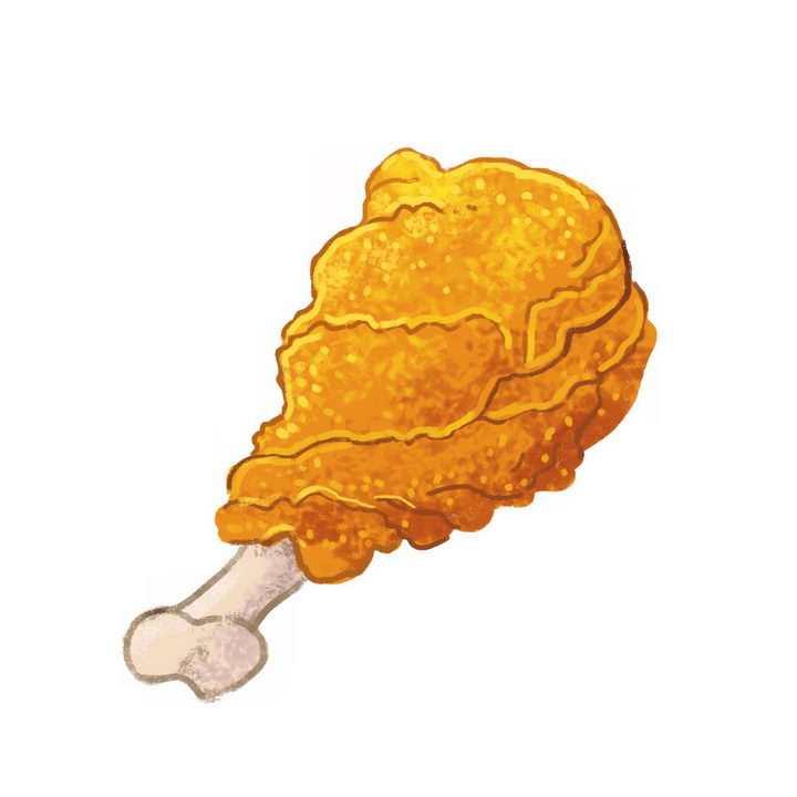 彩绘风格香辣鸡腿美味美食png图片免抠素材