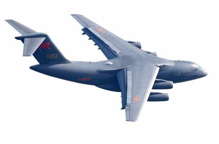 迎着阳光的运20军用大型运输机透明png高清免抠图片