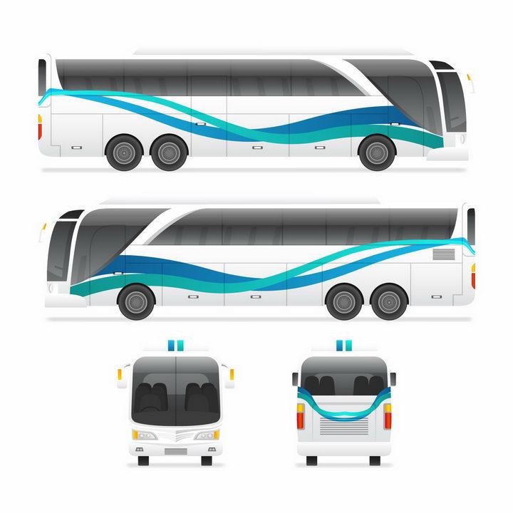 长途大巴客车汽车前后视图和侧视图png图片免抠矢量素材 交通运输-第1张