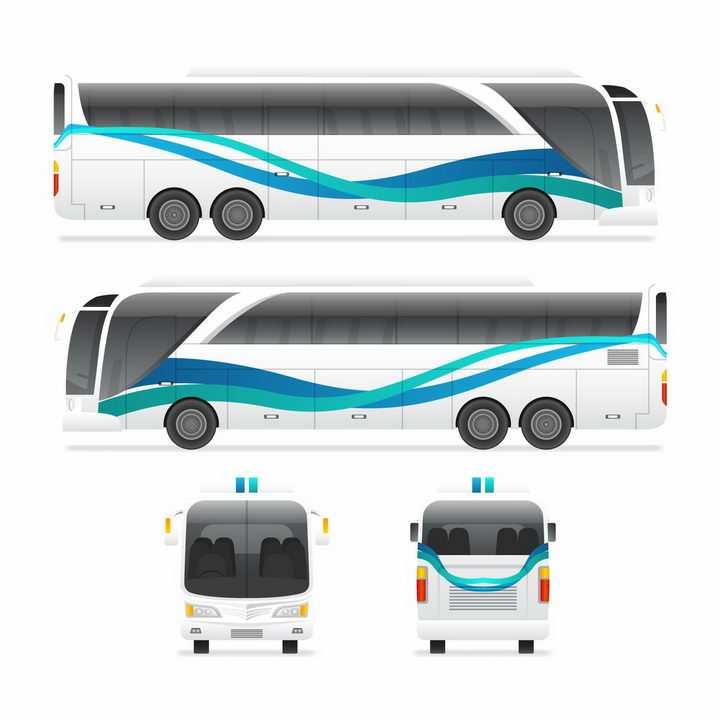 长途大巴客车汽车前后视图和侧视图png图片免抠矢量素材