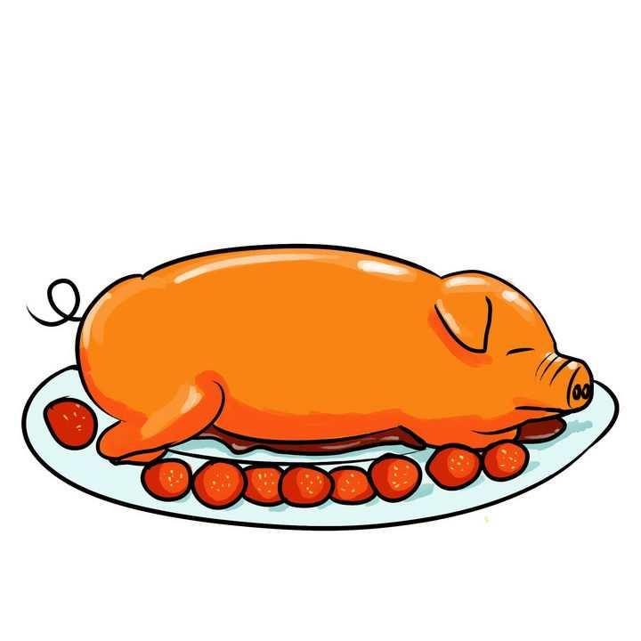 手绘风格烤乳猪png图片免抠素材