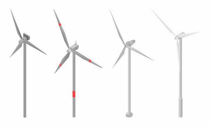 4款简约的风力发电机组绿色能源png图片免抠eps矢量素材 工业农业-第1张