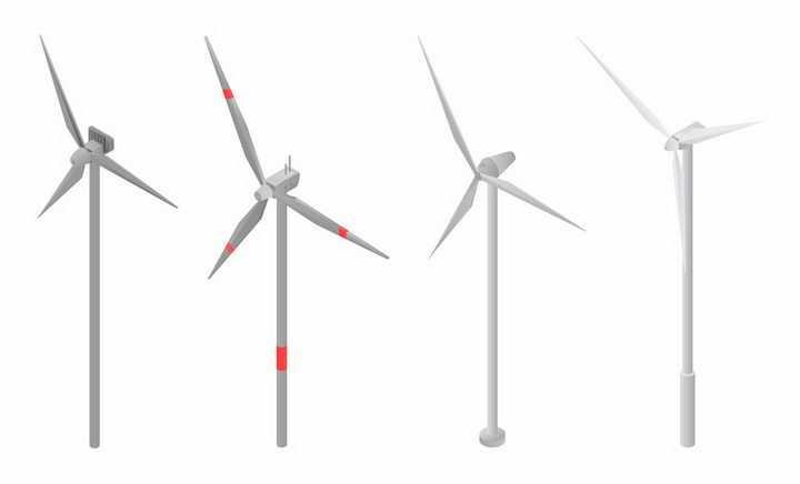 4款简约的风力发电机组绿色能源png图片免抠eps矢量素材