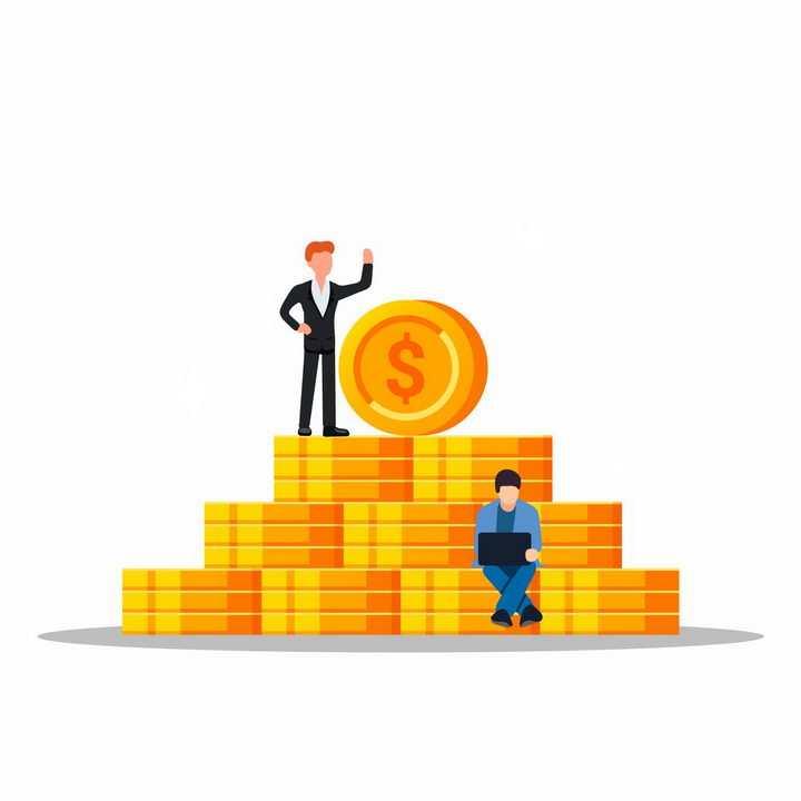 扁平插画风格堆放在一起的金币硬币和商务人士png图片免抠矢量素材