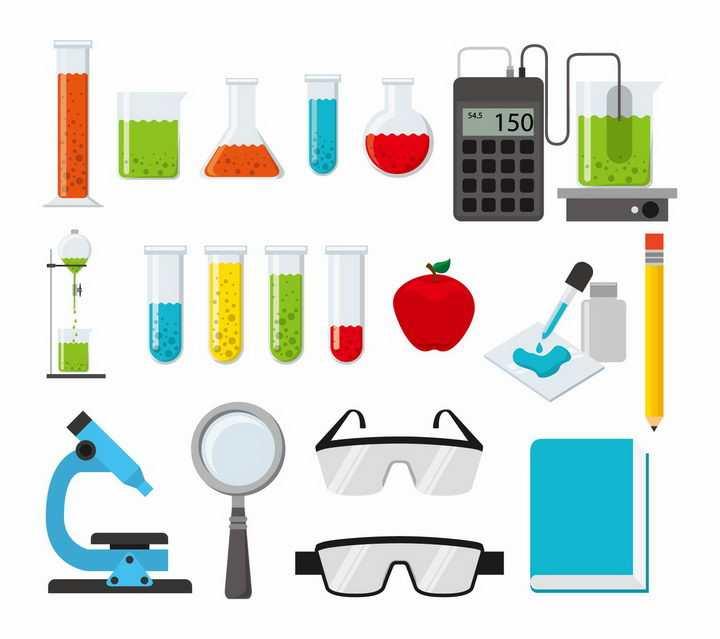 扁平化风格试管量筒显微镜护目镜等化学实验用品png图片免抠矢量素材