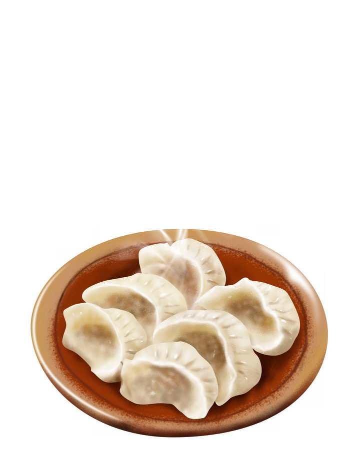 一碟飘着热气的饺子水饺美味美食png图片免抠素材