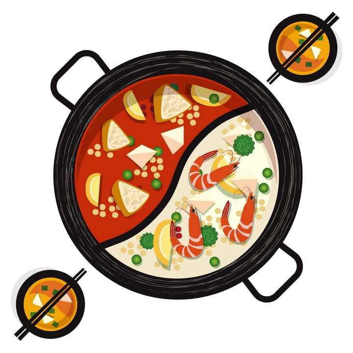 手绘风格清汤和麻辣鸳鸯火锅底料png图片免抠素材
