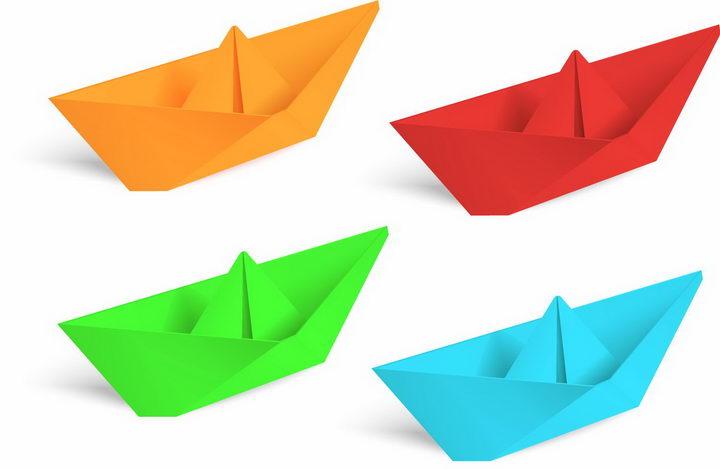橙色红色绿色蓝色折纸船png图片免抠矢量素材 休闲娱乐-第1张