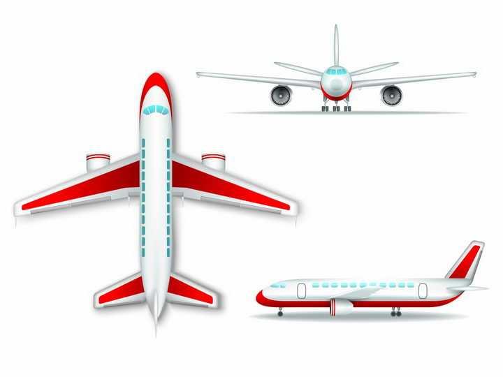 卡通大型客机的飞机三视图png图片免抠矢量素材