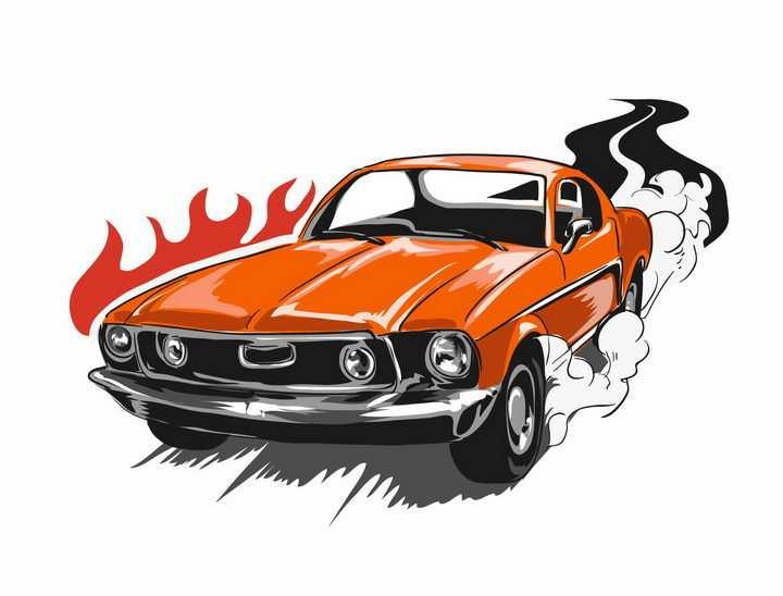 美式漫画风格飞驰的赛车汽车png图片免抠矢量素材
