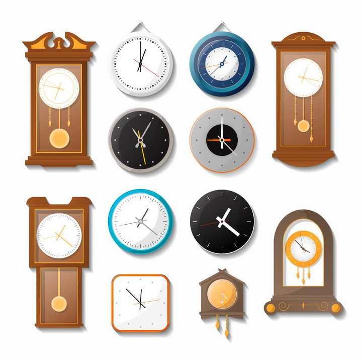 各种落地钟挂钟时钟png图片免抠矢量素材