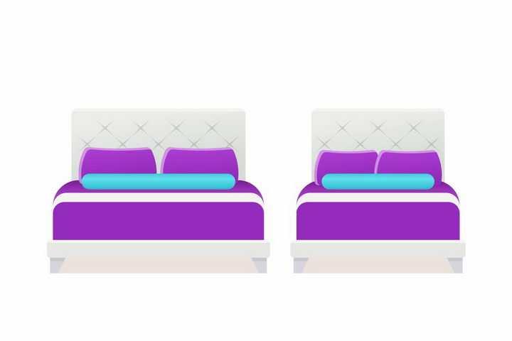 紫色床垫的白色双人床和单人床卧室家具png图片免抠矢量素材