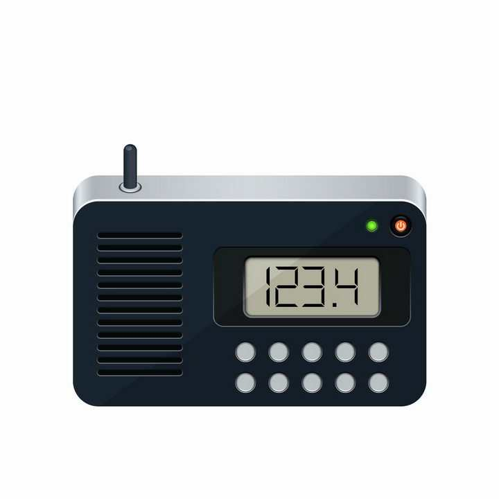 便携式液晶显示功能调频无线电收音机png图片免抠矢量素材