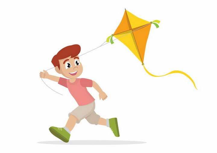 奔跑着放风筝的卡通男孩png图片免抠矢量素材