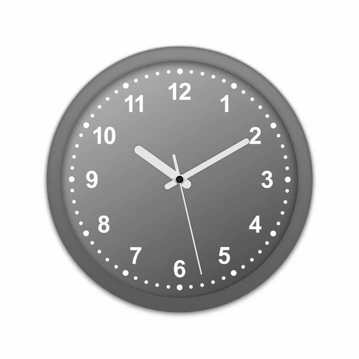 深灰色时钟表盘白色时针分针秒针png图片免抠矢量素材