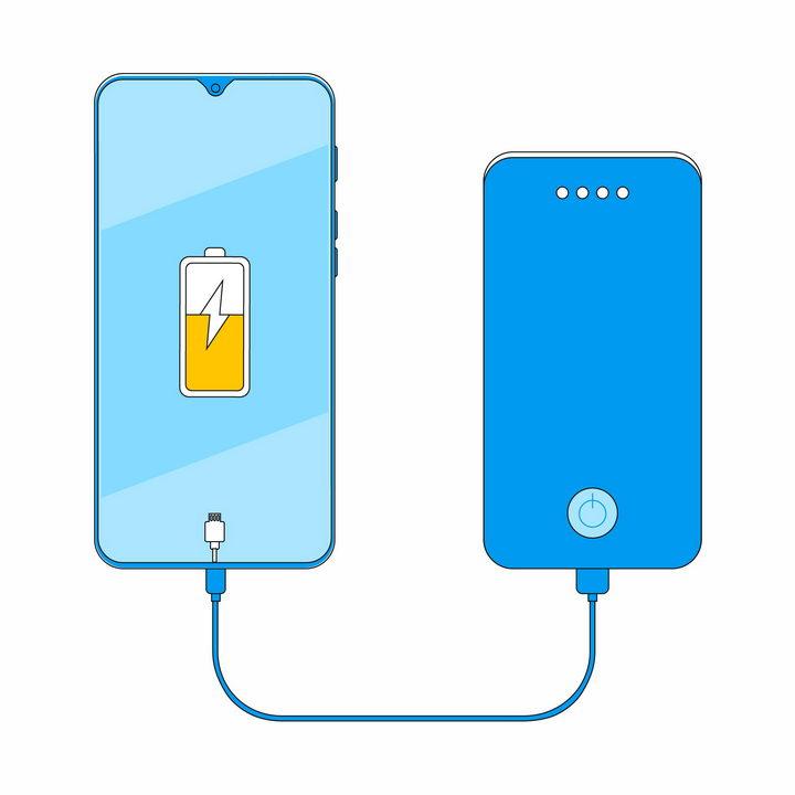 扁平化风格蓝色充电宝移动电源正在给手机充电png图片免抠eps矢量素材 IT科技-第1张