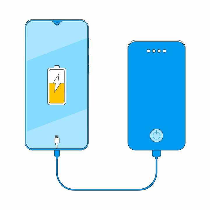 扁平化风格蓝色充电宝移动电源正在给手机充电png图片免抠eps矢量素材