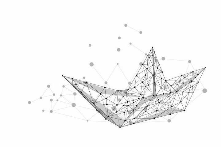 点线组成的折纸船png图片免抠矢量素材