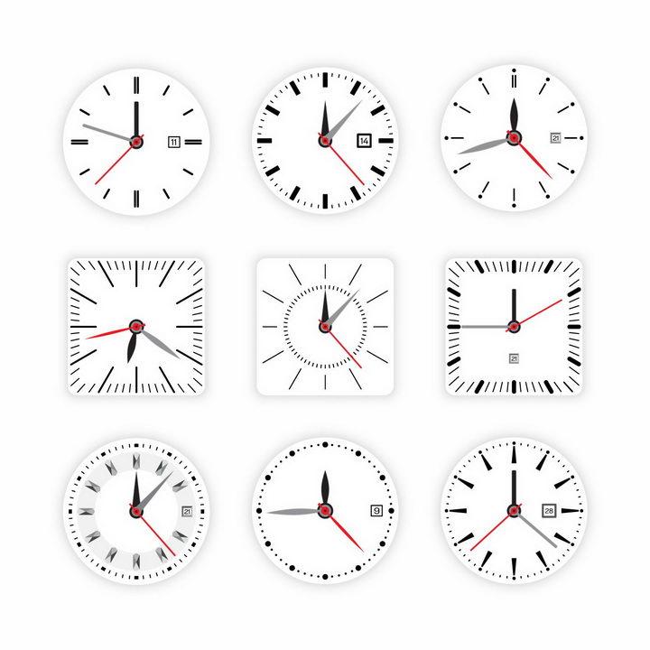 9款白色表盘的时钟手表只针分针秒针盘面png图片免抠矢量素材 生活素材-第1张