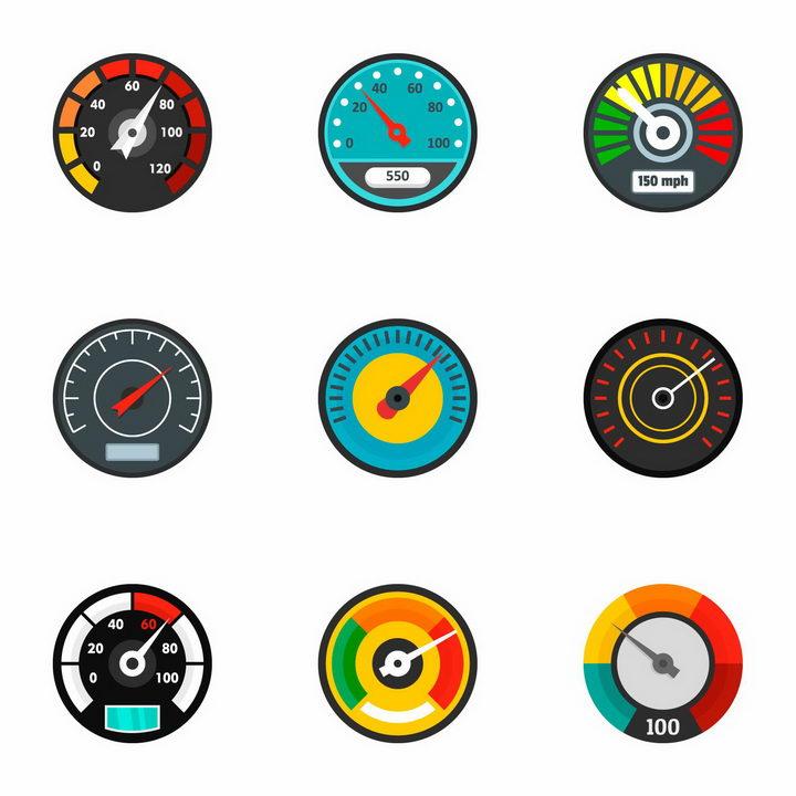 9款汽车仪表盘速度表显示图标png图片免抠矢量素材 交通运输-第1张