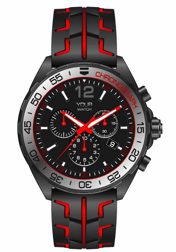 黑色和红色机械手表男士运动手表png图片免抠矢量素材 生活素材-第1张