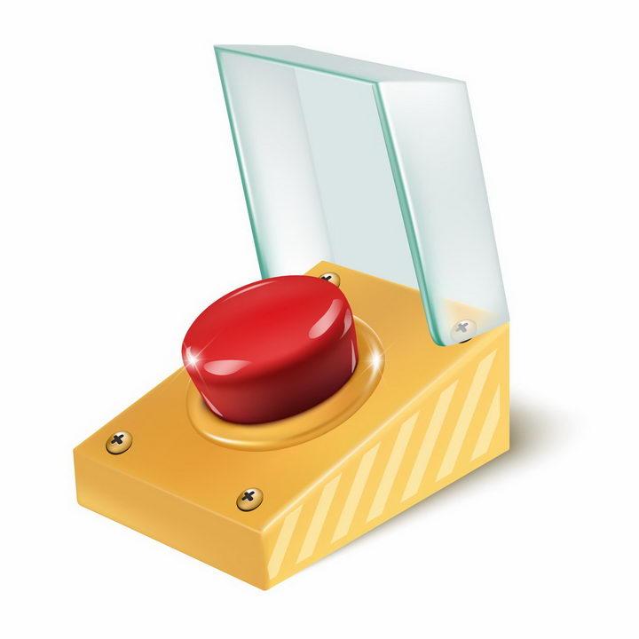红色紧急停止按钮png图片免抠矢量素材 按钮元素-第1张