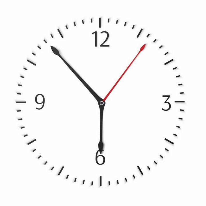 简约风格钟表刻度和时针分针秒针png图片免抠矢量素材 生活素材-第1张