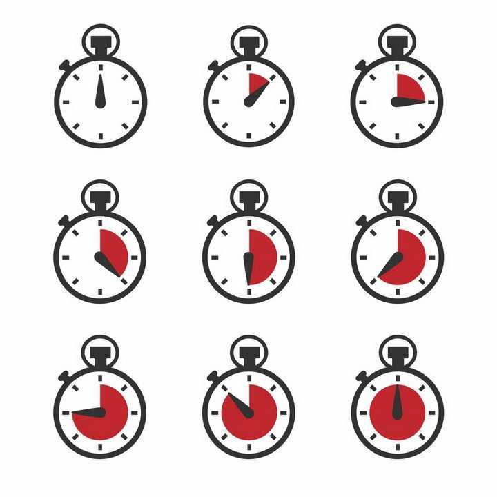 9款红色倒计时秒表图案png图片免抠eps矢量素材