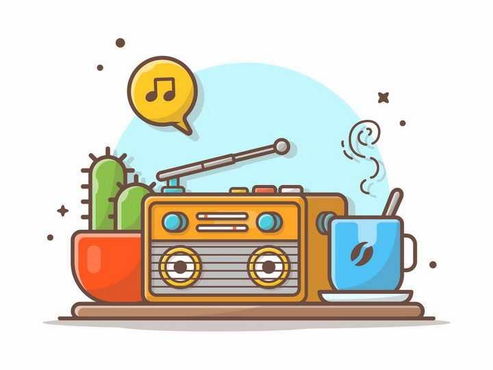 MBE风格仙人掌收音机和咖啡png图片免抠矢量素材