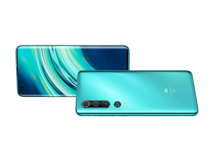 蓝色光泽的小米10Pro手机png图片免抠素材