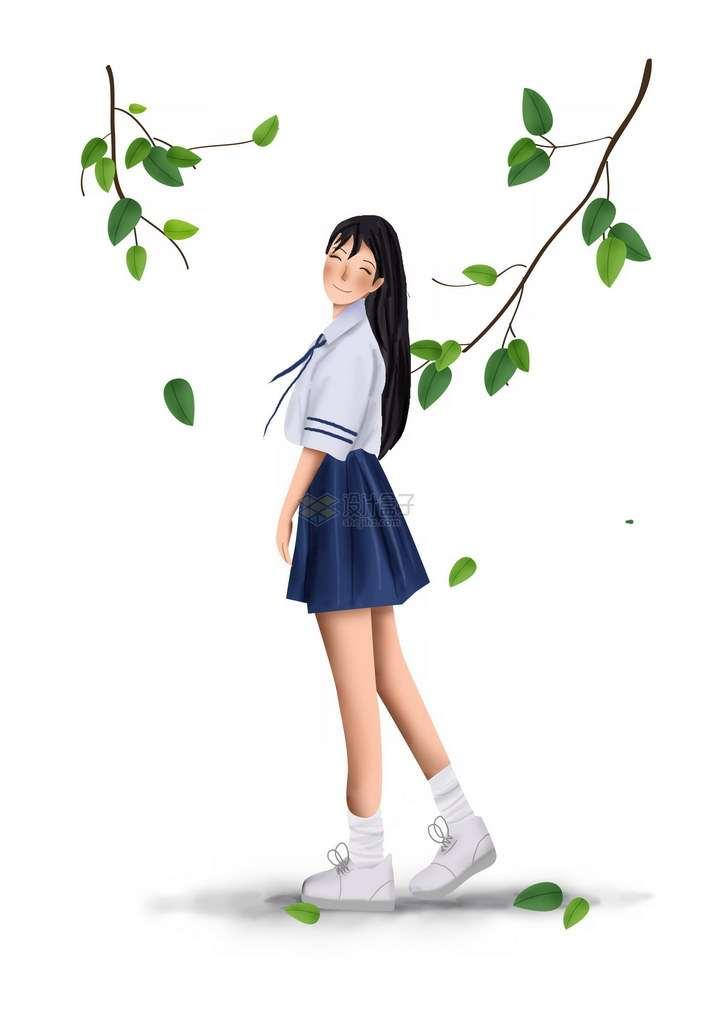 彩绘风格微笑的水手服校服青春美少女站在树下png图片免抠素材