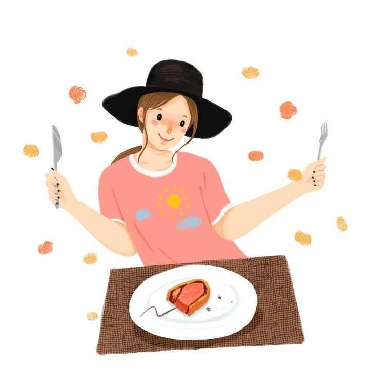 手绘美女很开心吃牛排png图片免抠素材