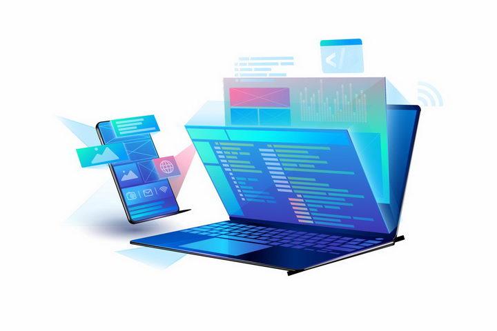 抽象蓝色笔记本电脑和手机内容显示png图片免抠eps矢量素材 IT科技-第1张