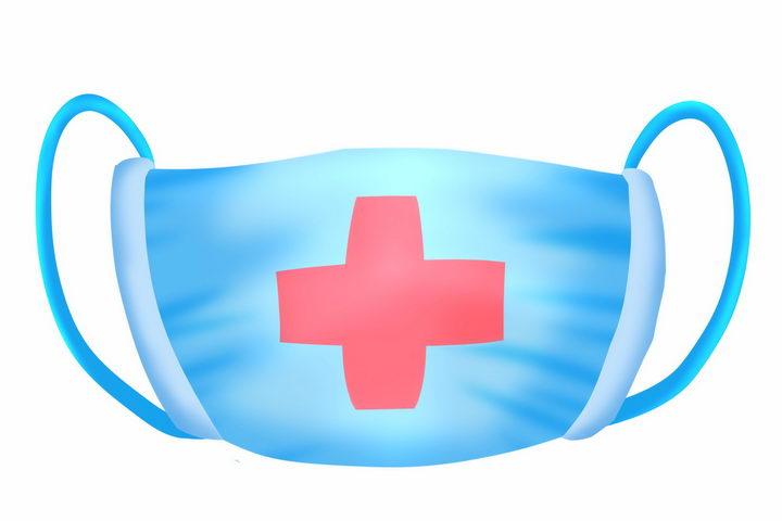 卡通印有红十字一次性医用外科口罩png图片免抠素材 健康医疗-第1张