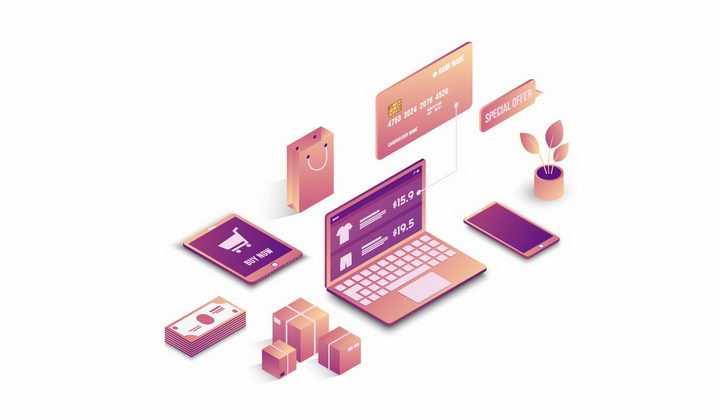 2.5D风格笔记本电脑货物银行卡等象征了网络购物安全png图片免抠矢量素材