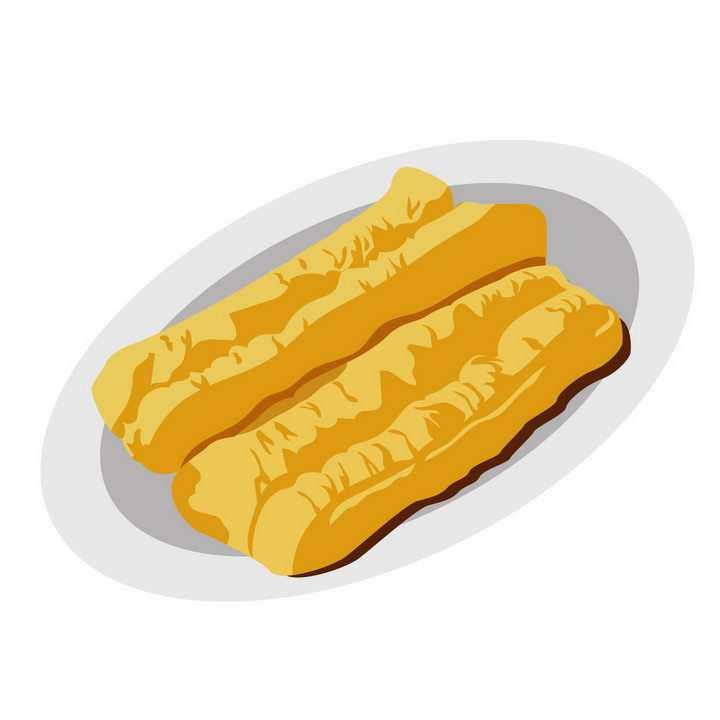 手绘风格盘子中的两根油条早餐png图片免抠素材