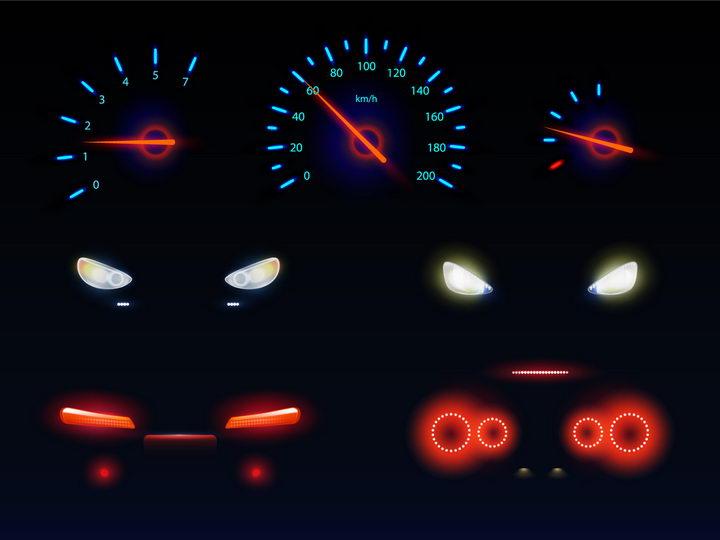 发光的汽车仪表盘速度表和大灯红色车尾灯png图片免抠矢量素材 交通运输-第1张