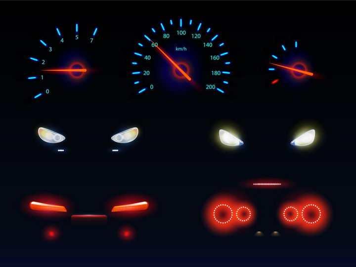 发光的汽车仪表盘速度表和大灯红色车尾灯png图片免抠矢量素材