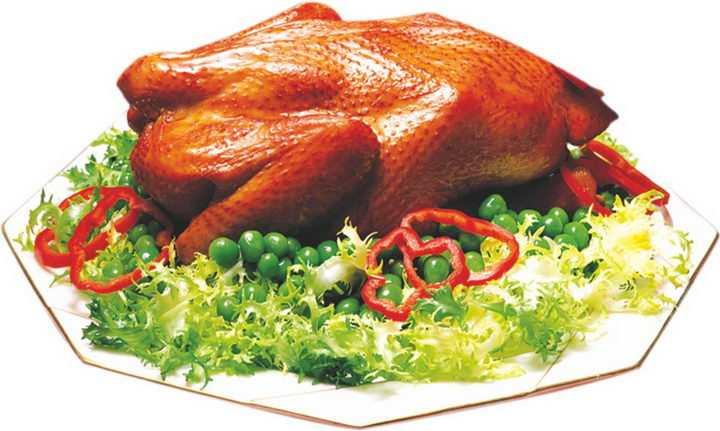 摆在盘中的北京烤鸭png图片免抠素材