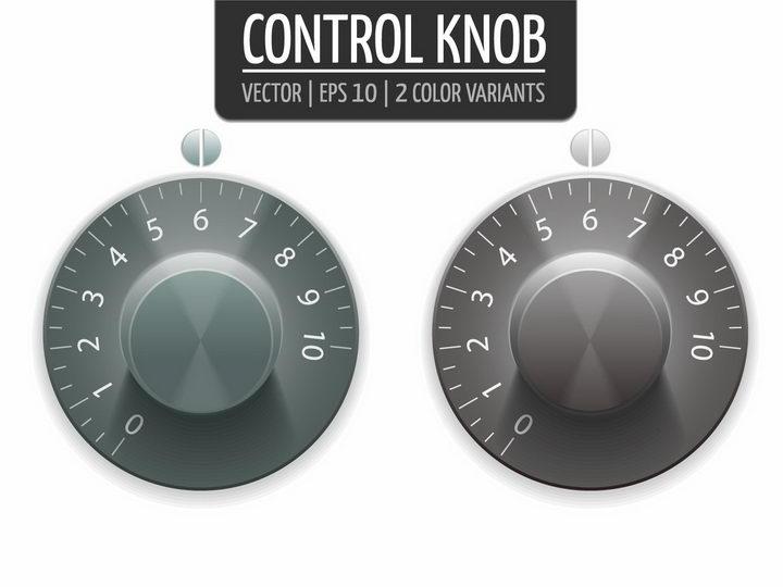 两款逼真的金属效果旋转按钮png图片免抠矢量素材 按钮元素-第1张