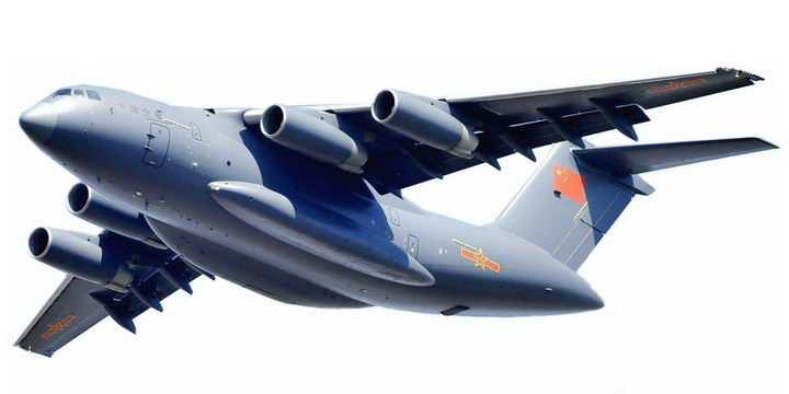 阳光下的运20军用大型运输机透明png高清免抠图片