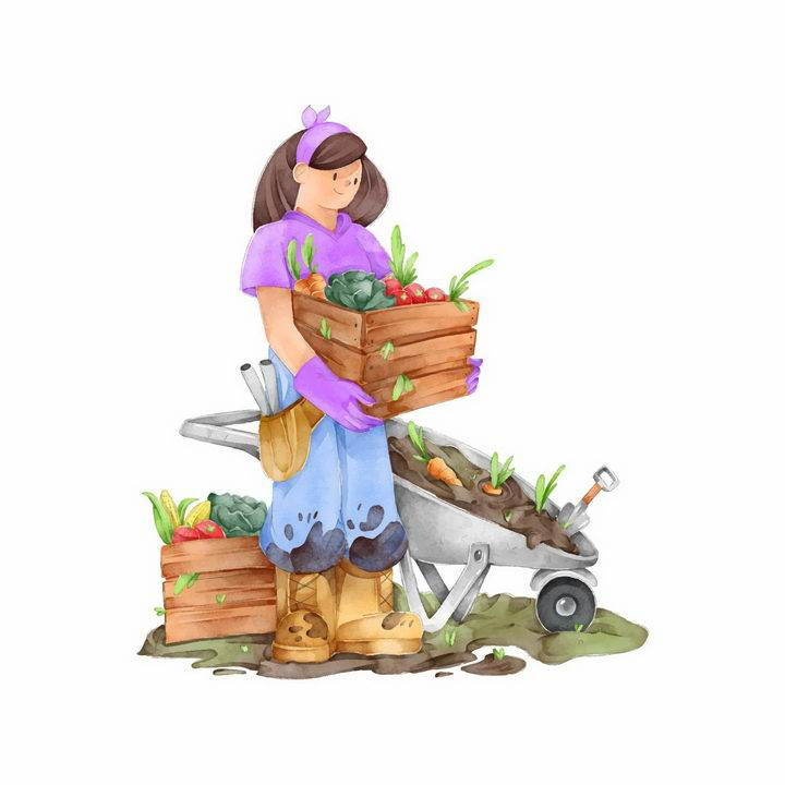 手绘插画抱着有机蔬菜的女农民干农活png图片免抠素材