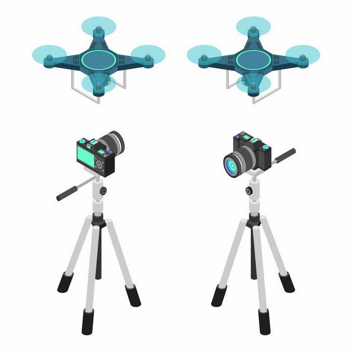 2.5D风格蓝色无人机航拍小飞机和三脚架上的单反相机png图片免抠矢量素材 IT科技-第1张