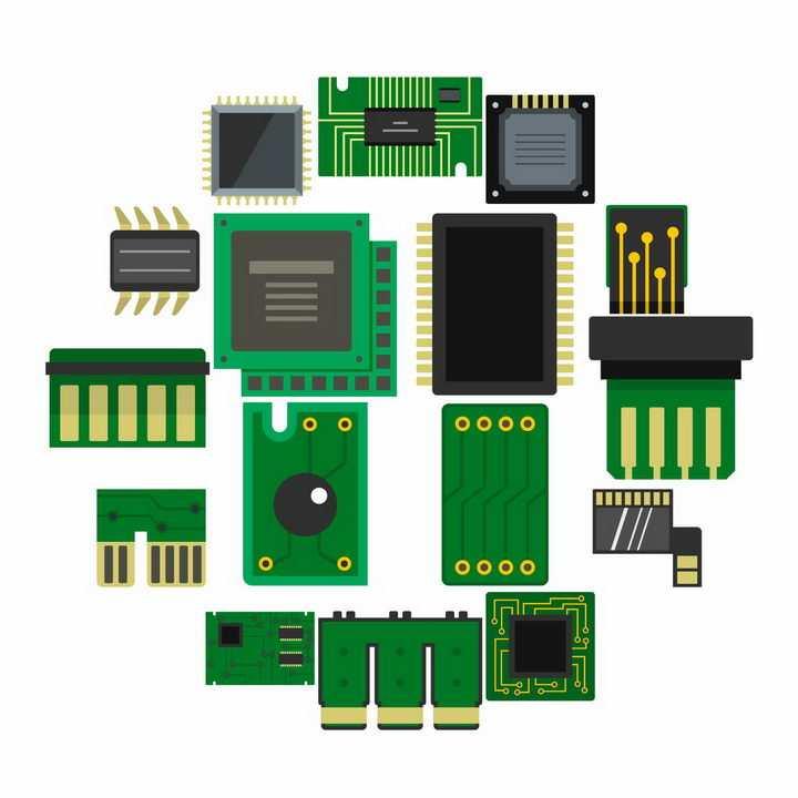 各种简约的印刷电路板PCB板集成电路png图片免抠矢量素材